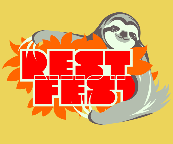 Sloth mascot hugging the REST Fest logo